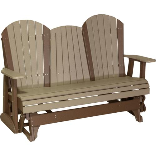 Adirondack Glider 5' Weatherwood and Chestnut Brown
