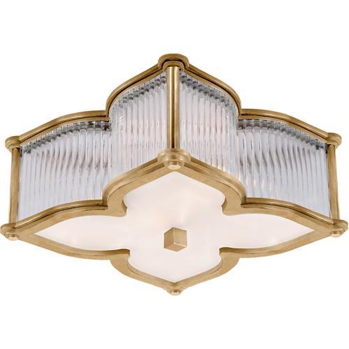 Alexa Hampton Lana 2 Light 15 inch Natural Brass with Clear Glass Flush Mount Ceiling Light