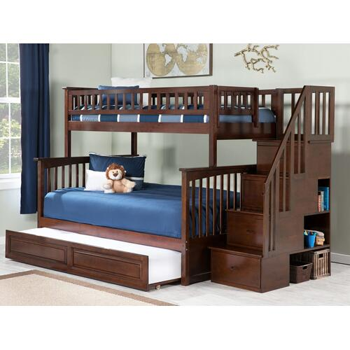 Atlantic Furniture - Columbia Staircase Bunk Bed Twin over Full with Raised Panel Trundle Bed in Walnut