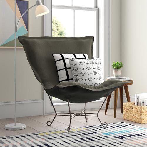 Howard Elliott - Scroll Puff Chair Sterling Charcoal Titanium Frame