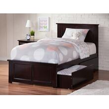 Madison Twin XL Bed with Matching Foot Board with 2 Urban Bed Drawers in Espresso