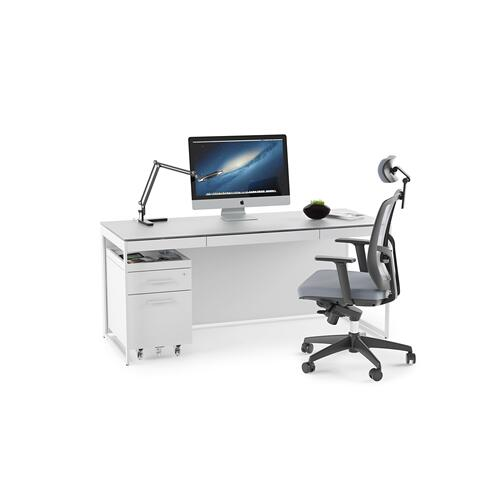 BDI Furniture - Centro 6401 Desk in Satin White Painted Oak Grey Glass