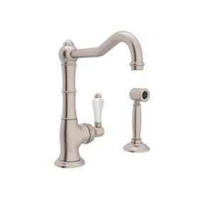 Cinquanta Single Hole Column Spout Bar and Food Prep Faucet with Sidespray - Satin Nickel with White Porcelain Lever Handle
