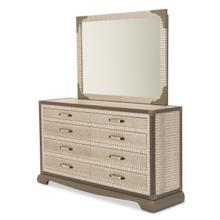 Upholstered 2 PC Storage Console- Dresser W/ Mirror