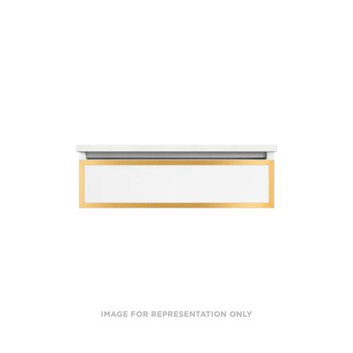 """Profiles 30-1/8"""" X 7-1/2"""" X 21-3/4"""" Modular Vanity In Satin White With Matte Gold Finish, False Front Drawer and Selectable Night Light In 2700k/4000k Temperature (warm/cool Light); Vanity Top and Side Kits Not Included"""