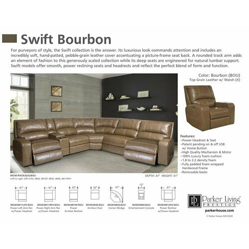 SWIFT - BOURBON Power Armless Recliner