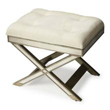This striking vanity stool is a glamorous addition to virtually any space. Big on look with antique finished mirror inlays on its apron and X legged base. It functions beautifully in a bedroom, powder room as a stool, or as an ottoman in other living spaces. Hand crafted from hardwood solids and wood products, its pewter finish is refreshingly modern, and it also features an ivory button-tufted cotton upholstered cushion.