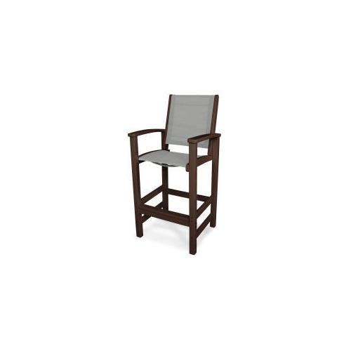 Polywood Furnishings - Coastal Bar Chair in Mahogany / Metallic Sling