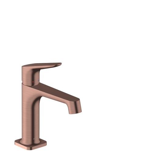 Brushed Red Gold Single lever basin mixer 100 with pop-up waste set