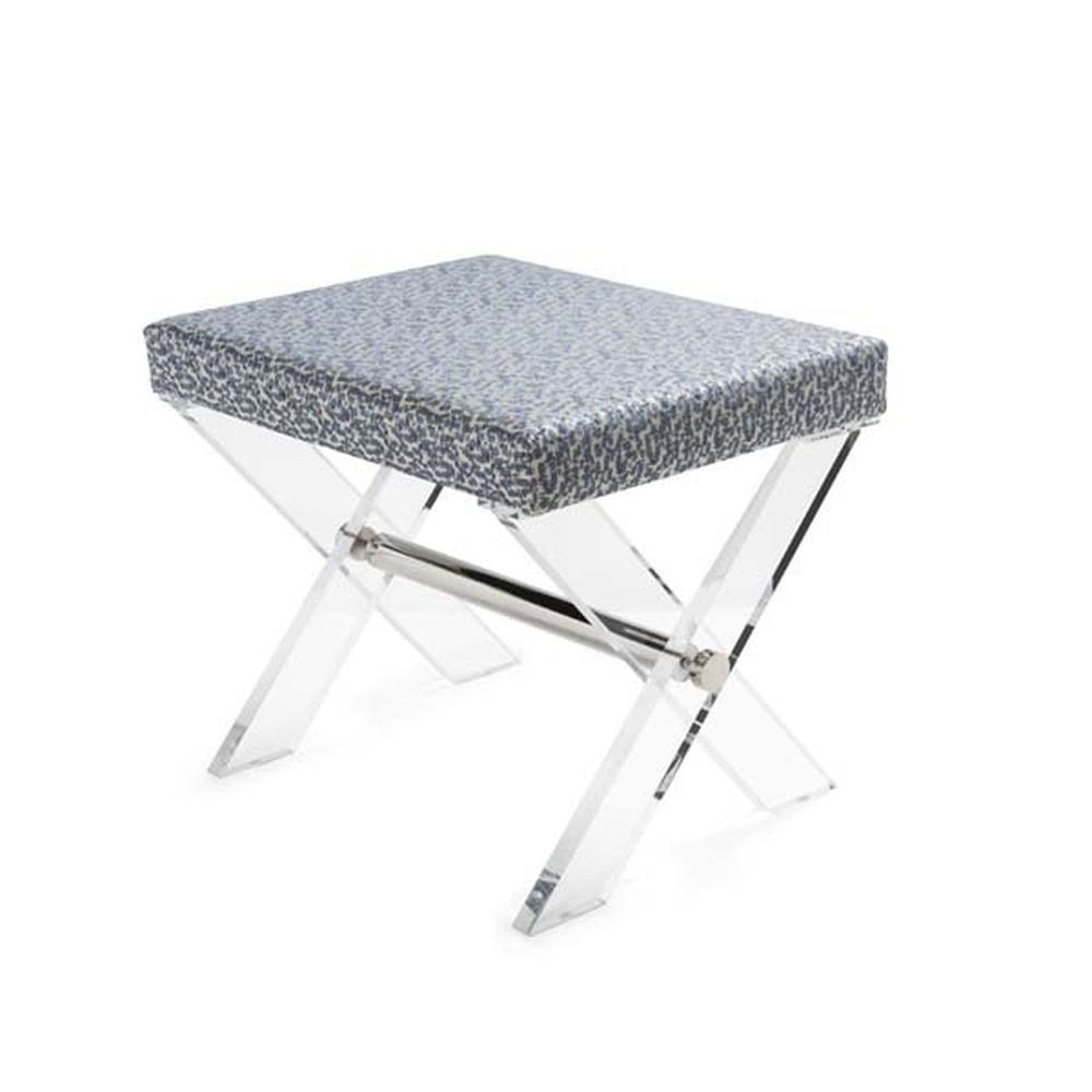 The Style Spotters Have Spoken! the Dixon Stool, With Its X Frame In Crystal Clear Acrylic, Is A Perennial Favorite. Upholstered Cushion In Abstract Slate Blue and Cream Pattern With A Polished Nickel Stretcher.