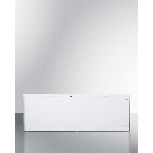 Commercially Listed 26.66 CU.FT. Manual Defrost Chest Freezer In White With Stainless Steel Corner Guards
