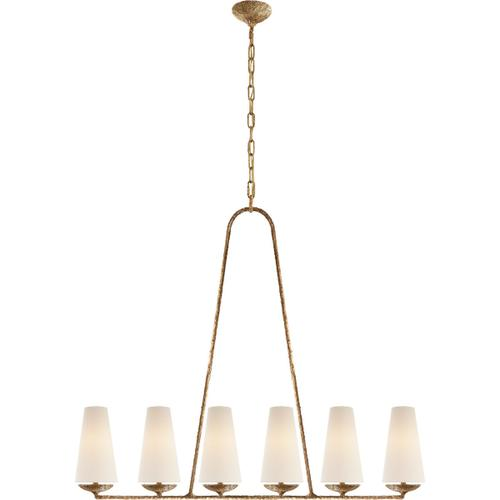 AERIN Fontaine 6 Light 45 inch Gilded Plaster Linear Chandelier Ceiling Light