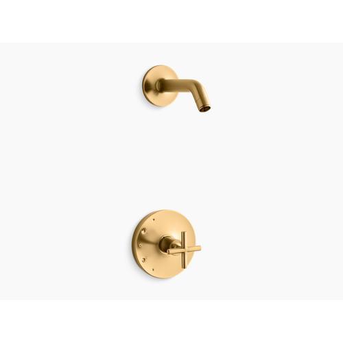 Kohler - Vibrant Brushed Moderne Brass Rite-temp Shower Valve Trim With Cross Handle, Less Showerhead