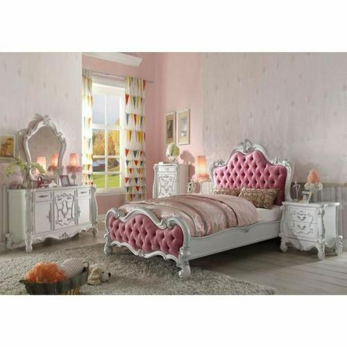 ACME Versailles Full Bed - 30645F - Pink Fabric & Antique White
