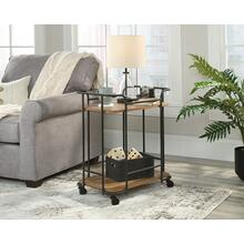 Rustic Rolling Metal & Wood Side Table