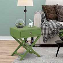 Square Night Stand End Table With Drawer in Clover Green Finish