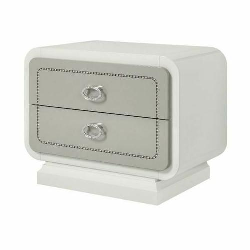 ACME Allendale Nightstand - 20193 - Ivory & Latte High Gloss