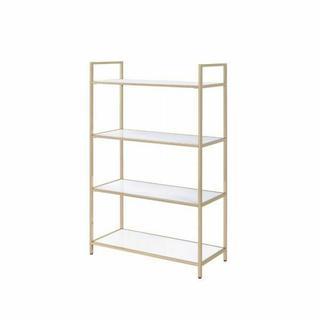 ACME Ottey Bookshelf - 92542 - White High Gloss & Gold