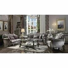 ACME Versailles Loveseat w/3 Pillows - 56841 - Velvet & Antique Platinum