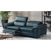 View Product - Divani Casa Melstone - Modern Blue Leatherette Sofa w/ Electric Recliners