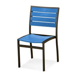 Polywood Furnishings - Eurou2122 Dining Side Chair in Textured Bronze / Pacific Blue