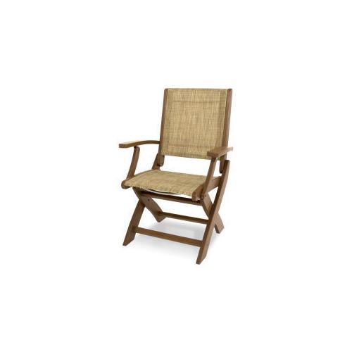 Polywood Furnishings - Coastal Folding Chair in Teak / Burlap Sling