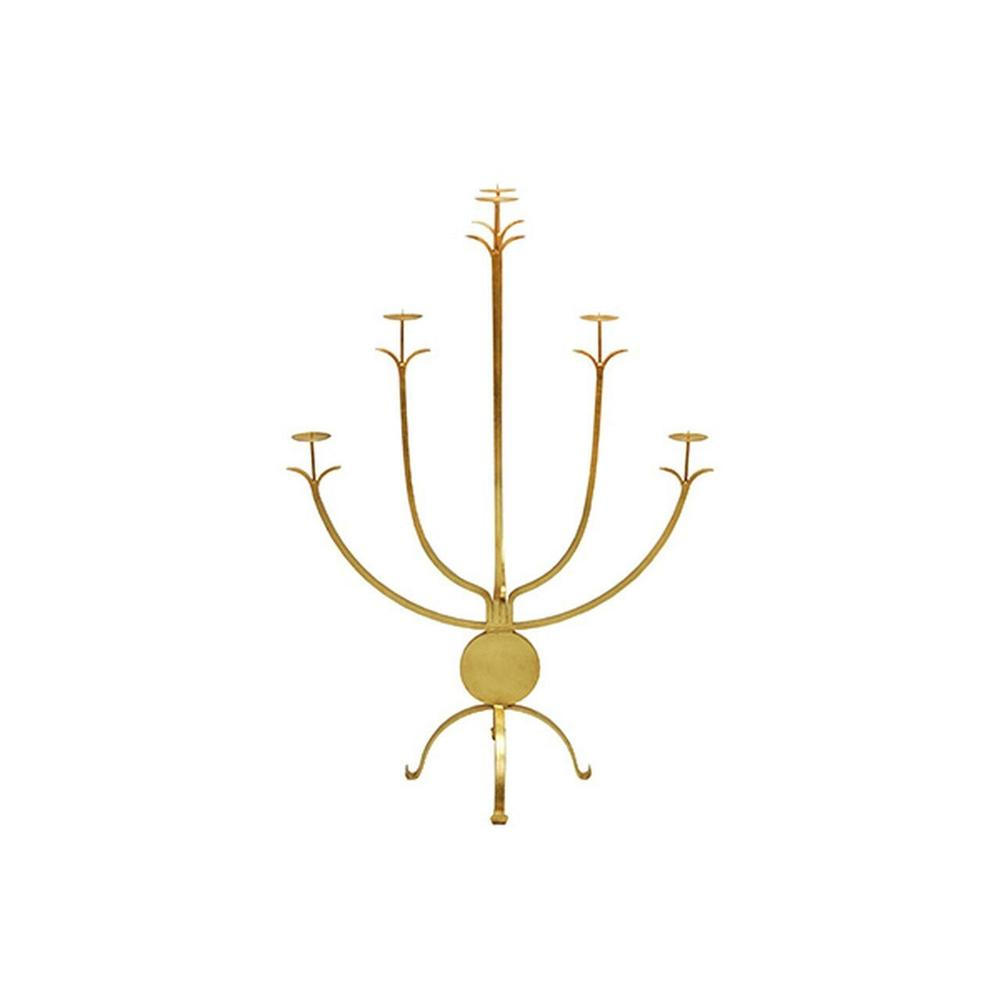 "Bring A Brilliant Brightness To Any Room With Our Large, Five Arm Alonso Candle Holder. Standing Tall At 43"" and Hand Finished With Gold Leaf, the Alonso Candle Holder Makes A Bold Statement On A Large Console or as A Fireplace Accessory. Shine On!"