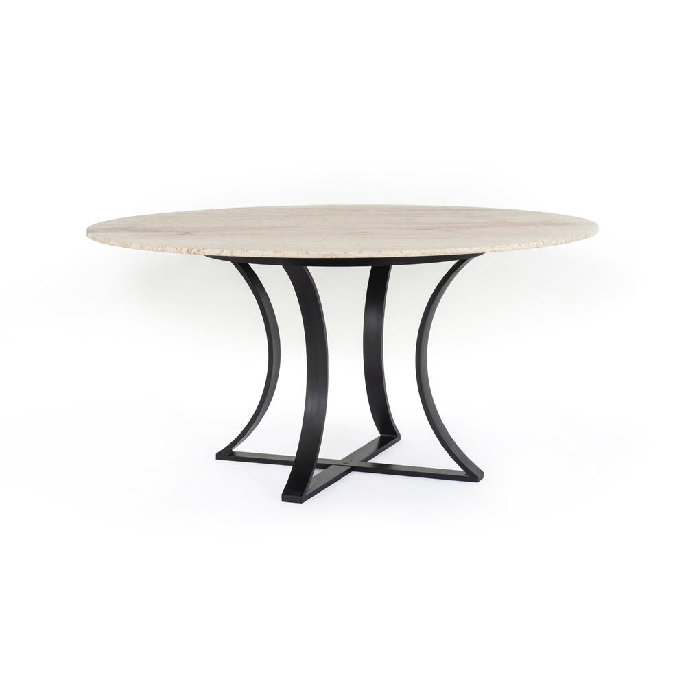"""See Details - White Travertine Finish 60"""" Size Gage Dining Table"""