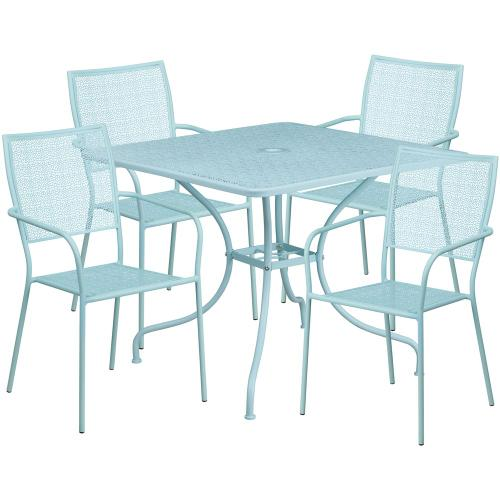 35.5'' Square Sky Blue Indoor-Outdoor Steel Patio Table Set with 4 Square Back Chairs