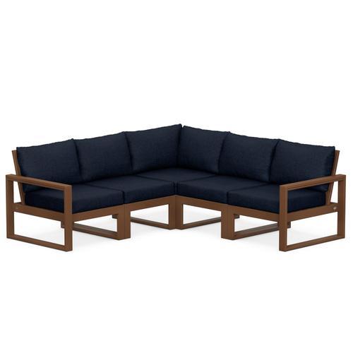Polywood Furnishings - EDGE 5-Piece Modular Deep Seating Set in Teak / Marine Indigo