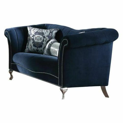ACME Jaborosa Loveseat w/2 Pillows - 50346 - Blue Velvet