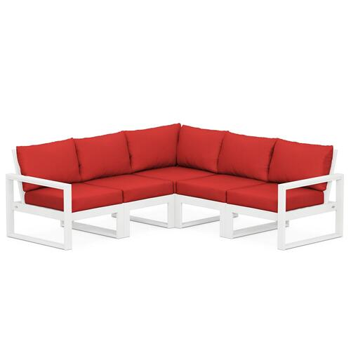 Polywood Furnishings - EDGE 5-Piece Modular Deep Seating Set in White / Crimson Linen