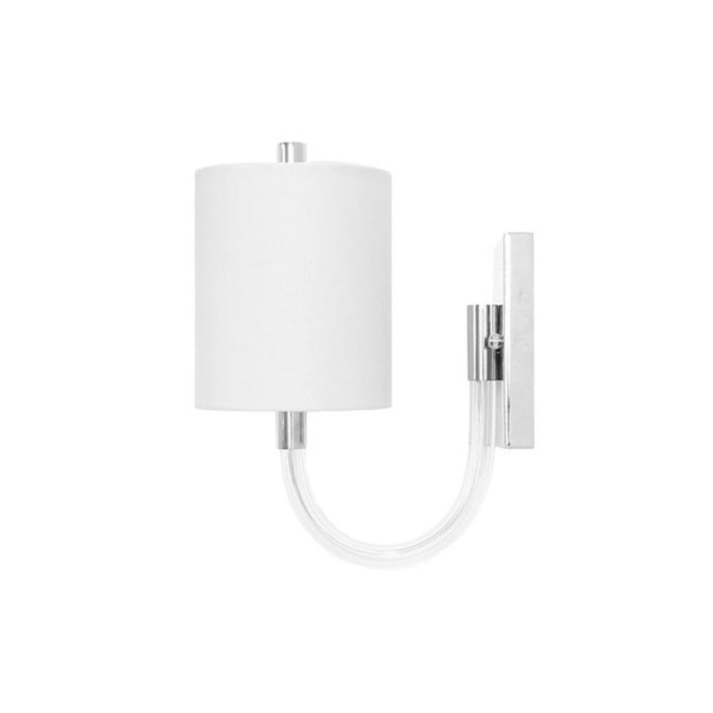 Wall Sconce With Acrylic Neck and White Linen Shade In Nickel - Uses (1) E12 40 Watt Candelabra Bulbs
