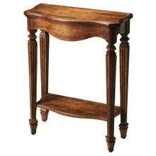 See Details - The slim, carved legs of the dark toffee Cheshire table add beauty to your home. The rich brown, distressed finish over oak veneer really shows class. Display your favorite decor and family photos on this console table.