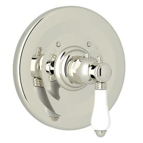 Thermostatic Trim Plate without Volume Control - Polished Nickel with White Porcelain Lever Handle