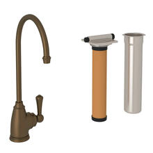 Georgian Era C-Spout Filter Faucet - English Bronze with Metal Lever Handle