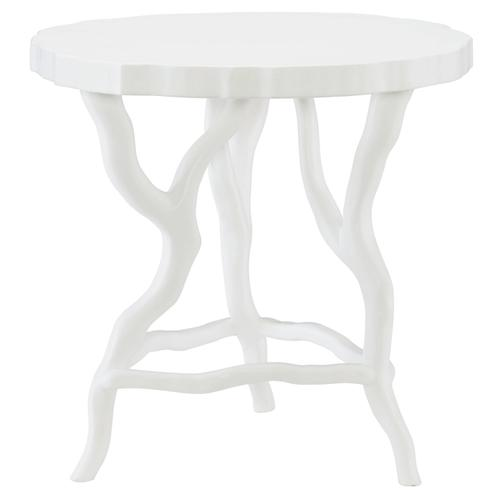Arbor Round Chairside Table in Chalky White