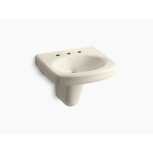 """Almond Wall-mount Bathroom Sink With 8"""" Widespread Faucet Holes"""