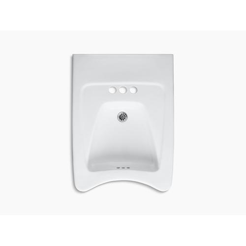 """White 20"""" X 27"""" Mounted/concealed Arm Carrier Wheelchair Bathroom Sink With 4"""" Centerset Faucet Holes"""