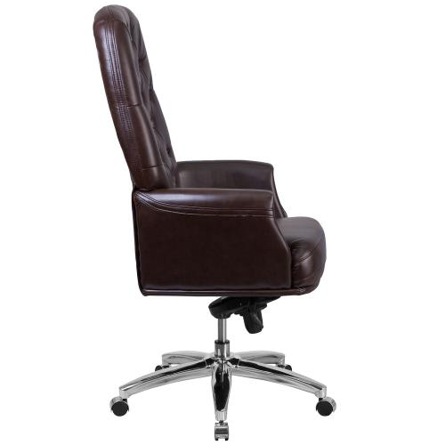 High Back Traditional Tufted Brown Leather Multifunction Executive Swivel Chair with Arms