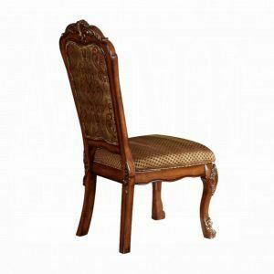 ACME Dresden Side Chair (Set-2) - 12153 - Fabric & Cherry Oak