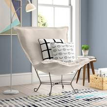 See Details - Scroll Puff Chair Sterling Sand Titanium Frame