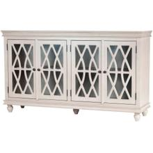 See Details - This sideboard combines function and style with its turnip feet, intricate lattice woodwork overlaying glass door panels and the two cabinet storage. Two adjustable shelves provide ample stoage space for showcasing fine china, spare linens, and tea sets. Finished in a distressed natural tone.