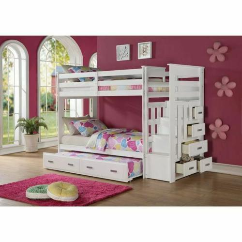 ACME Allentown Twin/Twin Bunk Bed w/Storage Ladder & Trundle - 37370 - White