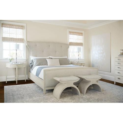 King East Hampton Upholstered Bed in Cerused Linen (395)