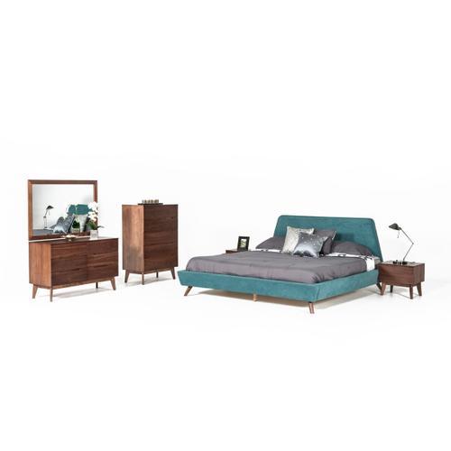 VIG Furniture - Modrest Lewis Mid-Century Modern Teal & Walnut Bedroom Set