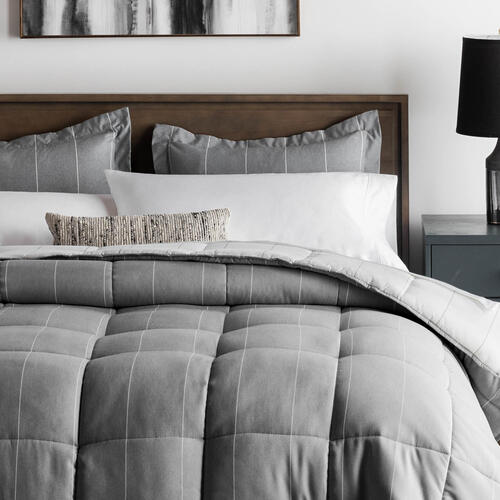 Chambray Comforter Set Oversized Queen Flint