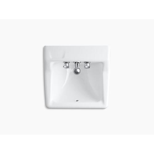 """White Wall-mounted Commercial Bathroom Sink With Factory-installed Faucet, 22"""" X 19"""""""