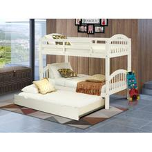 West Furniture Verona Twin Bunk Bed in White Finish with Convertible Trundle & Drawer