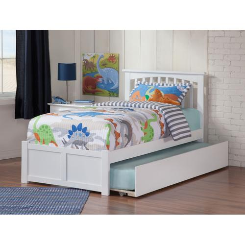 Atlantic Furniture - Mission Twin Flat Panel Foot Board with Urban Trundle White